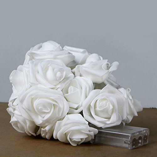 Lily's Gift 20LED Rose Flower Fairy String Light Wedding Party Christmas White Light 2M *** Additional details @