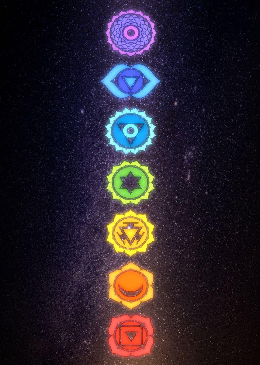 7 Chakras Metal Poster Print Mcashe Art Displate In 2021 Witchy Wallpaper Chakra Art Spiritual Wallpaper