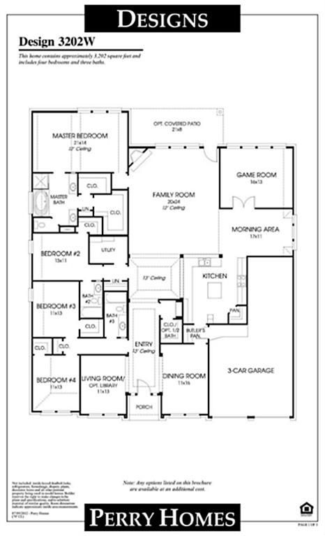 I Like This Floor Plan Perry Homes House Plans One Story Homes