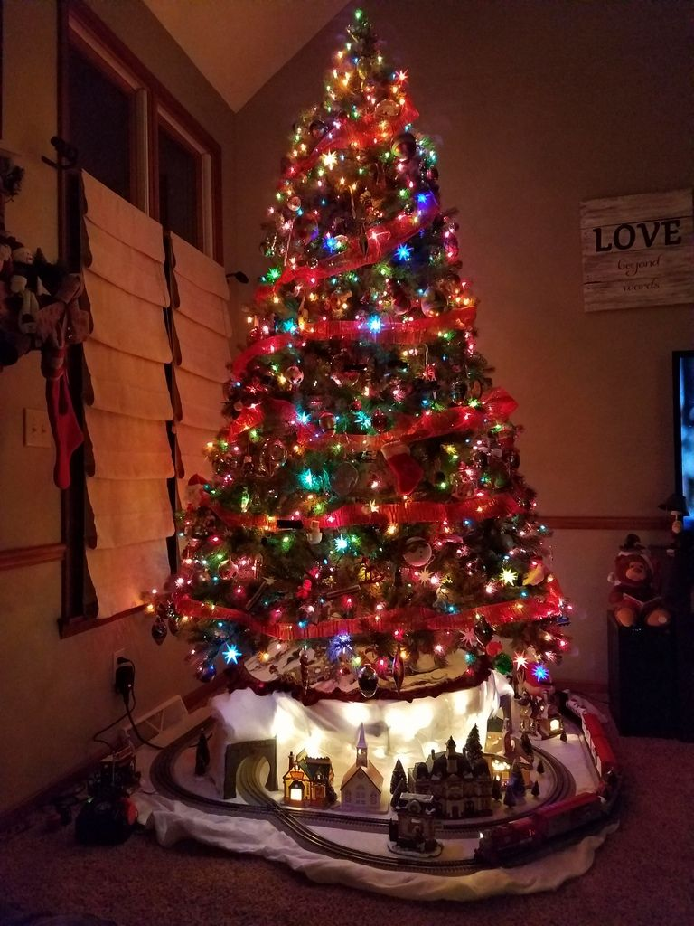Pin By M G Brown On Christmas Trees And Toy Trains Christmas Tree Train Christmas Decorations Diy Outdoor Christmas Tree Themes