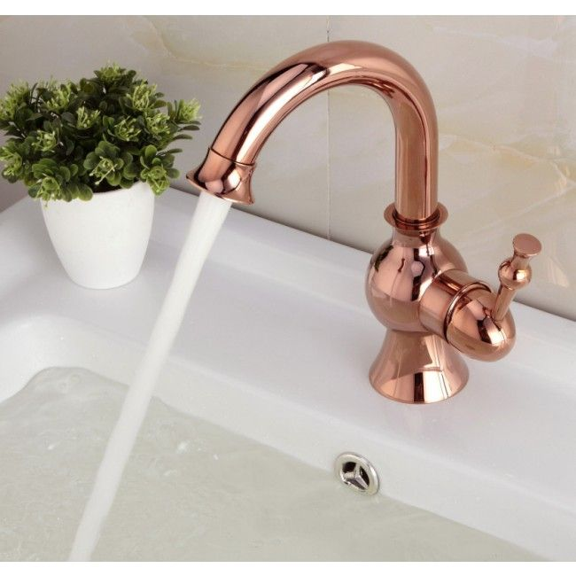 Single Handle Deck Mount Rose Gold Bathroom Sink Faucet in Gold ...