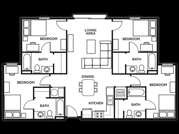 Student Housing Floor Plans U Pointe Kennesaw Kennesaw State University University Dorms University Housing