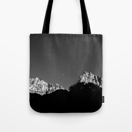 """ZION MOONRISE crafted Tote Bag; hand sewn in America using durable, yet lightweight, poly poplin fabric. All seams and stress points are double stitched for durability. Available in 13"""" x 13"""", 16"""" x 16"""" and 18"""" x 18"""" variations, the tote bags are washable, feature original artwork on both sides and a sturdy 1"""" wide cotton webbing strap for comfortably carrying over your shoulder."""