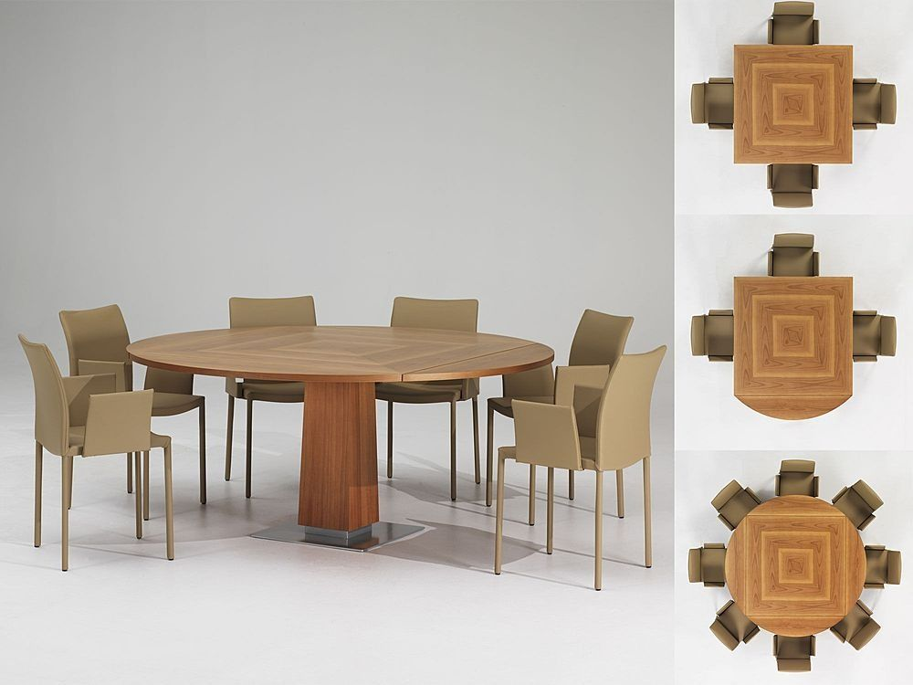 Modern Expandable Dining Table With Wooden Finish Petite Venise By - Modern square extendable dining table