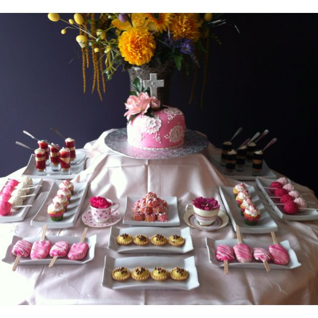 Missy S Confirmation Table Confirmation Party Dessert Table Communion