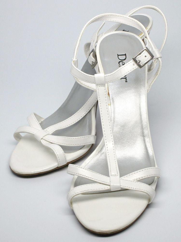 Dexter Women's Glossy Strappy White Dress Sandal, High Heel, US Shoe Size 7.5 M #Dexter #Strappy