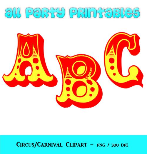 Circus Letters Clipart Carnival Letters Clipart Circus  Caroline
