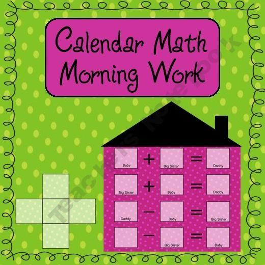 Kindergarten Calendar Work : Calendar math morning work product from liv to teach on