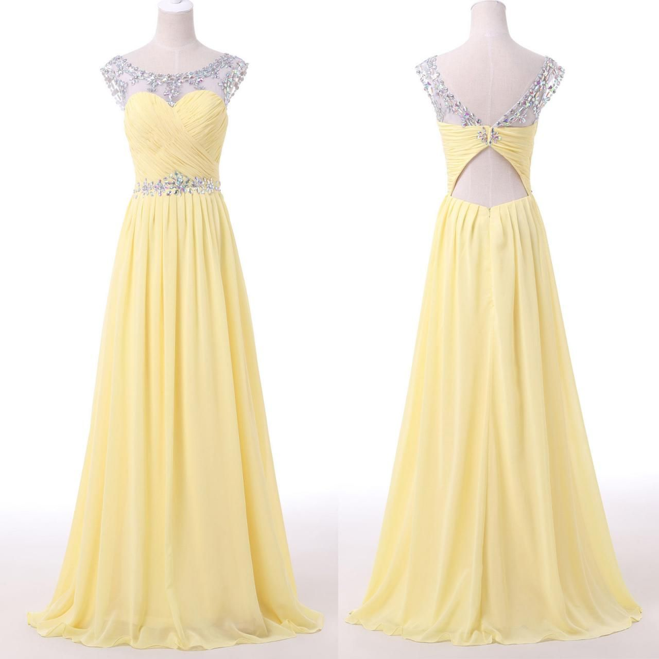 2016 Yellow Beaded Illusion Chiffon Prom Dress With Cut Out Back ...
