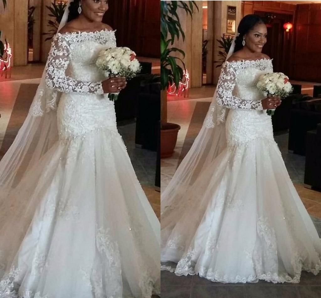Sequins Appliques Plus Size Wedding Dress with Long Sleeve