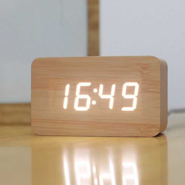 Creative Design Led Display Light Alarm Wood Clock Gadgets Cool