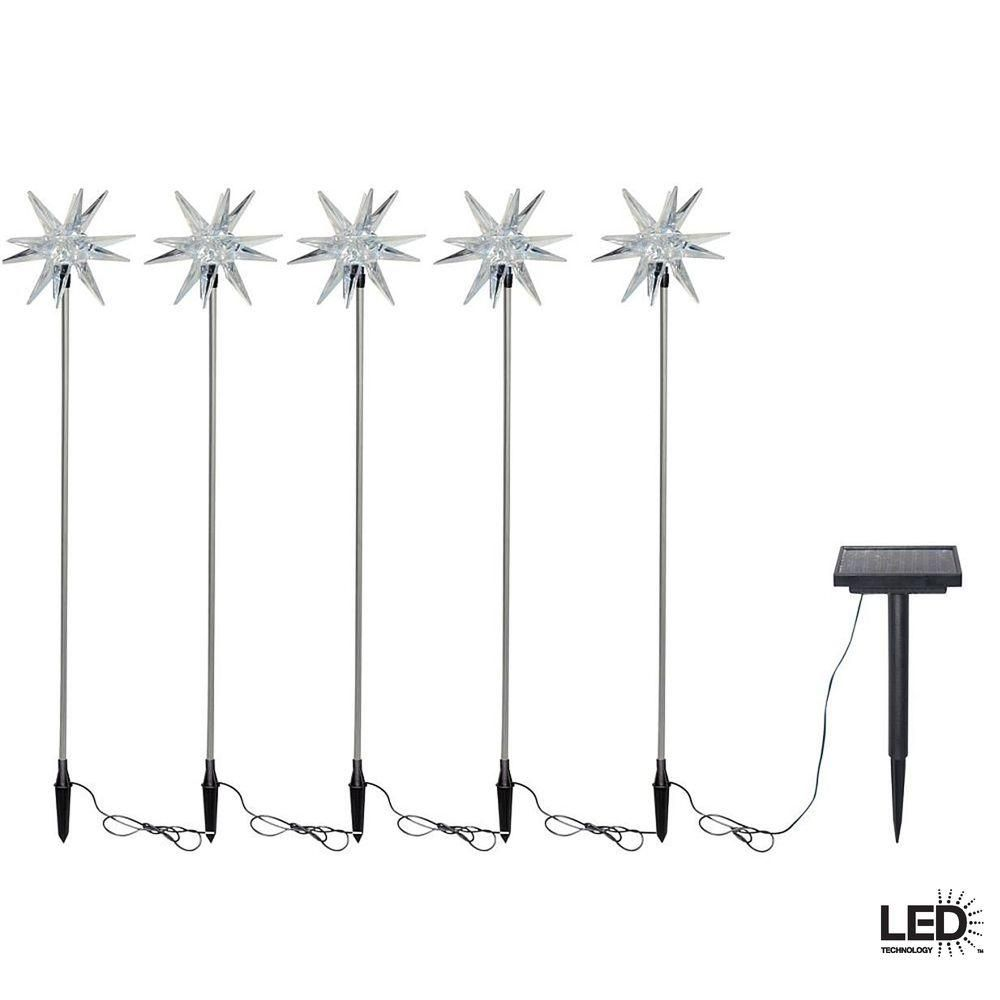Solar-Powered LED Starburst Nickel Stake Lights (5-Pack) | Products