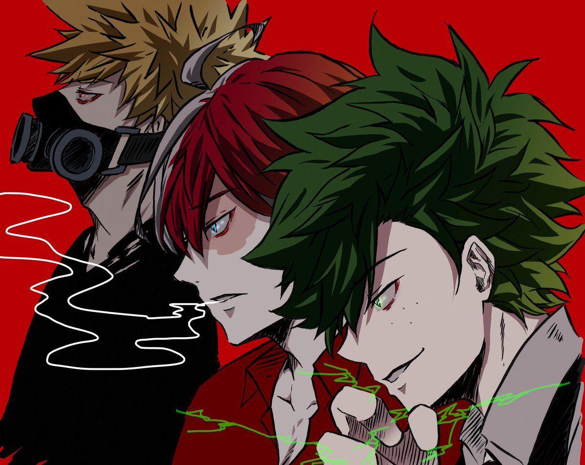 Midoriya Izuku Todoroki Shouto And Katsuki Bakugou Villains Boku No Hero Academia Villain Deku Hero Villain