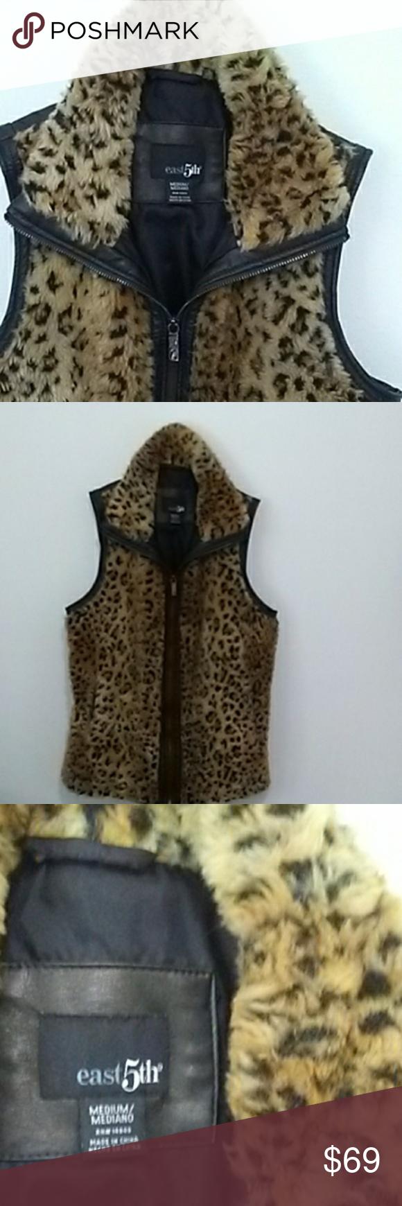 East 5th Ave. Leopard faux fur & leather vest Clothes