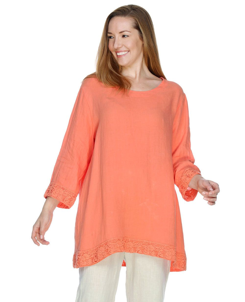 3bb977b37a Match Point Linen 3 4 Sleeve Round Neck Top W Lace