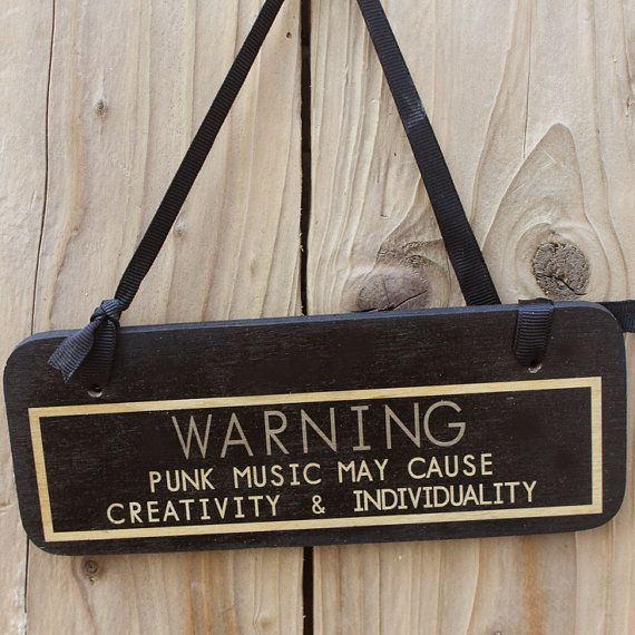 Warning punk  punk goth sign by Wot1 on Etsy