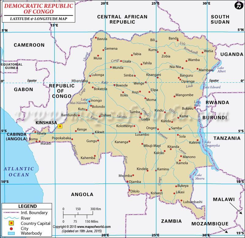 Democratic Republic of Congo Latitude and Longitude Map Latitude