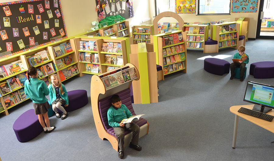 Primary school library design Modern Library Spaces Pinterest