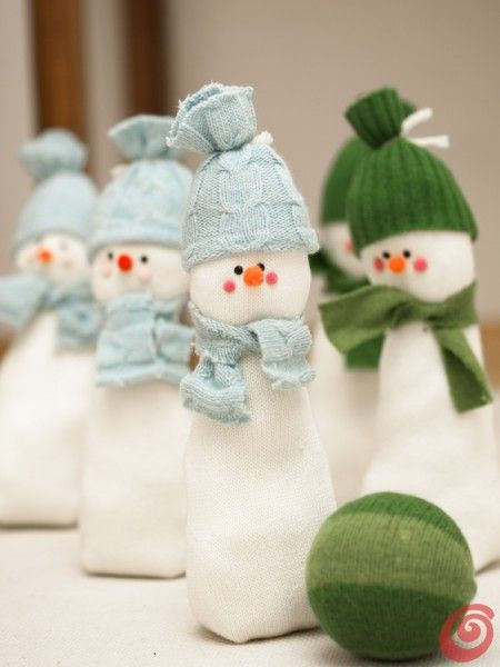 Lavoretti Di Natale Di Stoffa.I Birilli Pupazzi Di Neve Di Stoffa Lavoretti Per I
