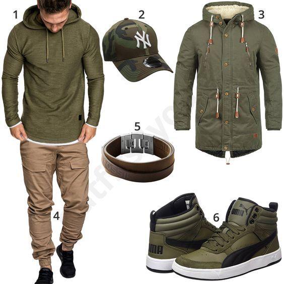 Grüner Street-Style mit Hoodie und beiger Jogg-Chino   mens style ... 61123d6320