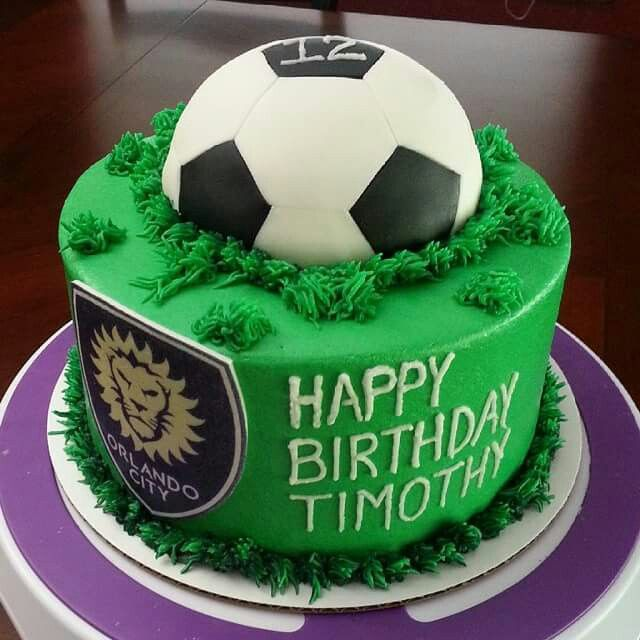 Surprising Orlando City Soccer Cake Soccer Birthday Parties Soccer Personalised Birthday Cards Beptaeletsinfo