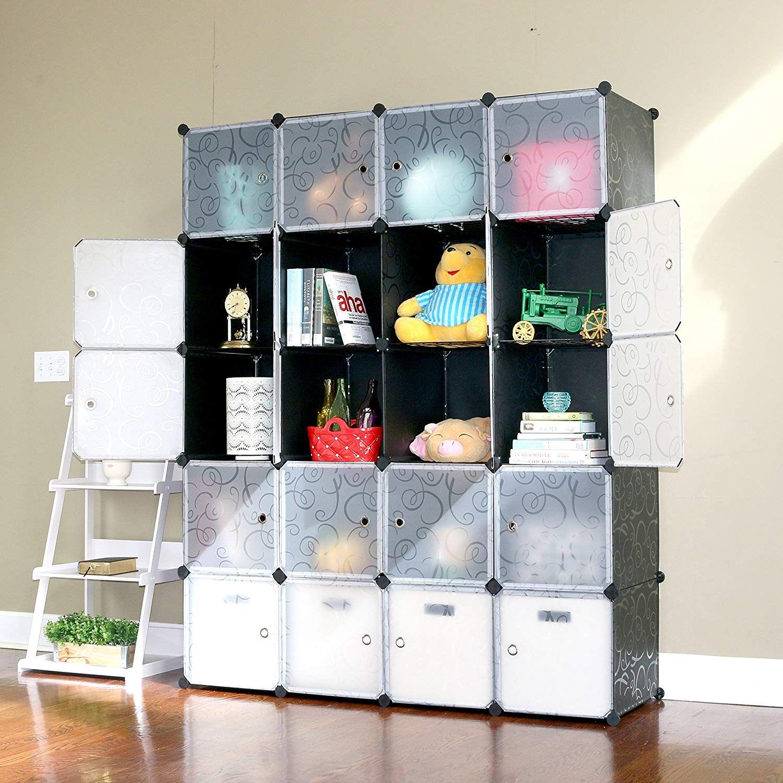 Unicoo Multi Use Diy Storage Cabinet Cubes Black With White Door Storage Design In 2020 Diy Storage Cabinets Cube Organizer Cube Storage