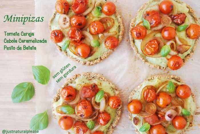 Minipizas de tomate cereja c/ cebola caramelizada e pesto de batata