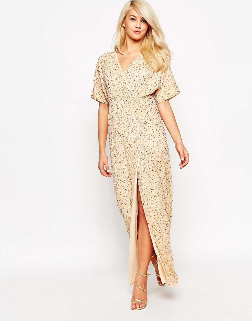 Bild 1 von ASOS – Maxikleid im Kimono-Stil mit Pailletten | Outfits ...