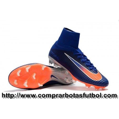 low priced a2928 f48a0 Botas De Futbol Nike Niños Mercurial Superfly V FG Azul Oscuro Naranja  Plateado