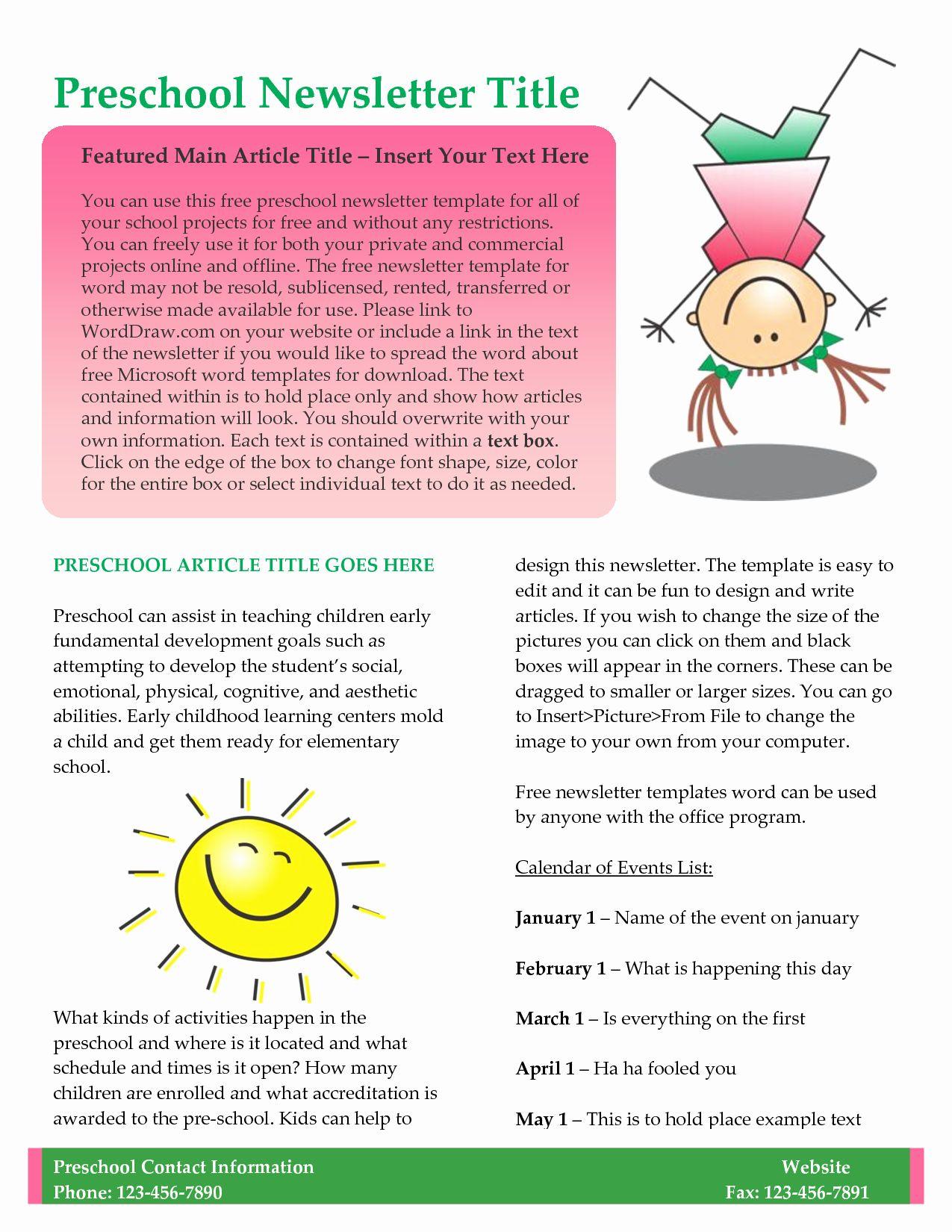 Preschool Newsletter Templates Free New Preschool Newsletter Template Preschool Newsletter Templates Preschool Newsletter School Newsletter Template Free preschool newsletter template microsoft word