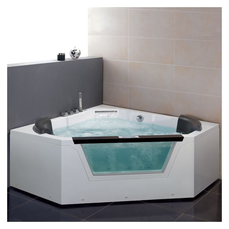 Ariel Platinum 5 2 Person Corner Acrylic Whirlpool Bathtub Glass Front Center Drain Am156jdtsz Whirlpool Tub Bathtub Whirlpool Bathtub