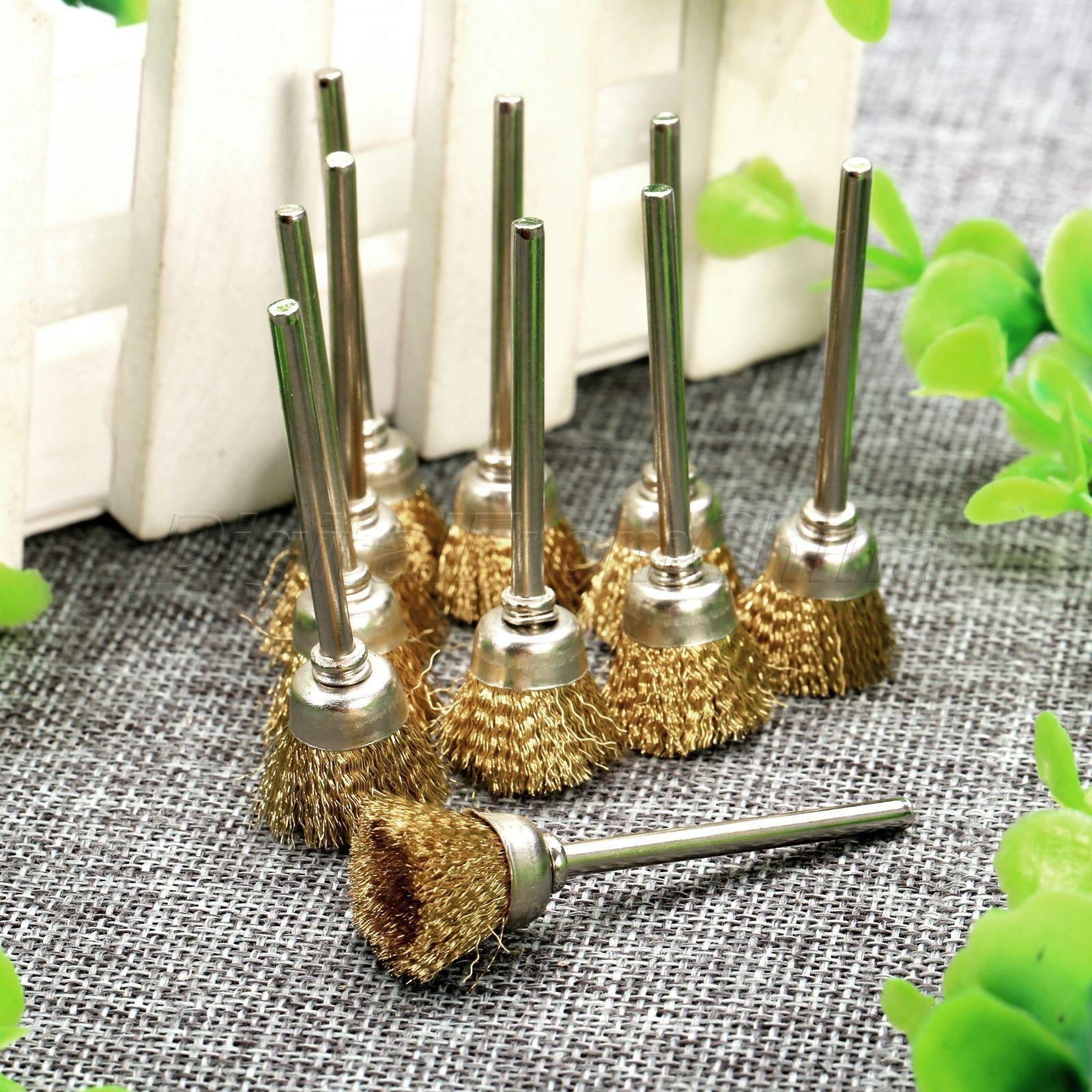 20pcs Mini Brass Wire Brush Wheel Brushes Set 3mm Shank Die Grinder Rotary Tools