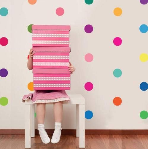 Rainbow Spots Multicolour Polka Dot Confetti Wall Art Sticker Kit