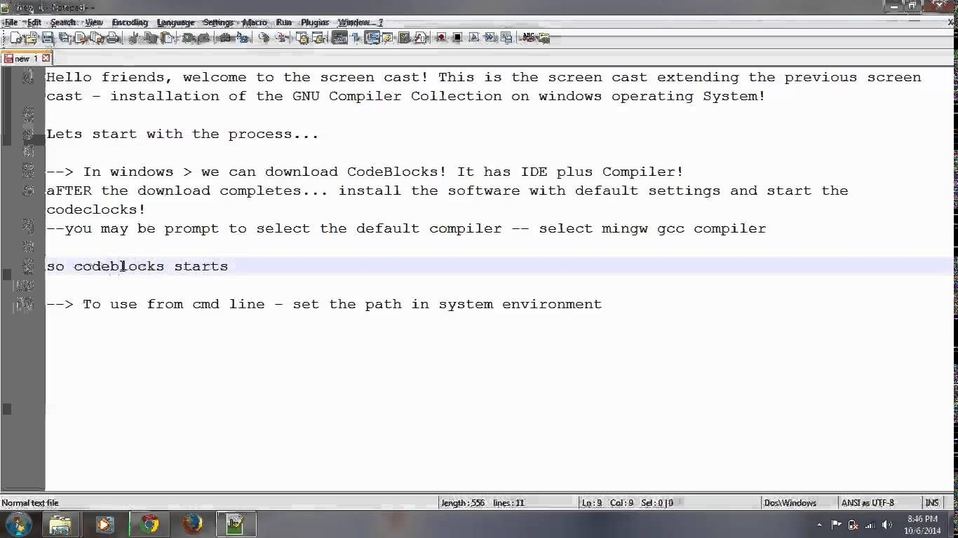 00 5 - Installing the GNU GCC compiler Collection in windows