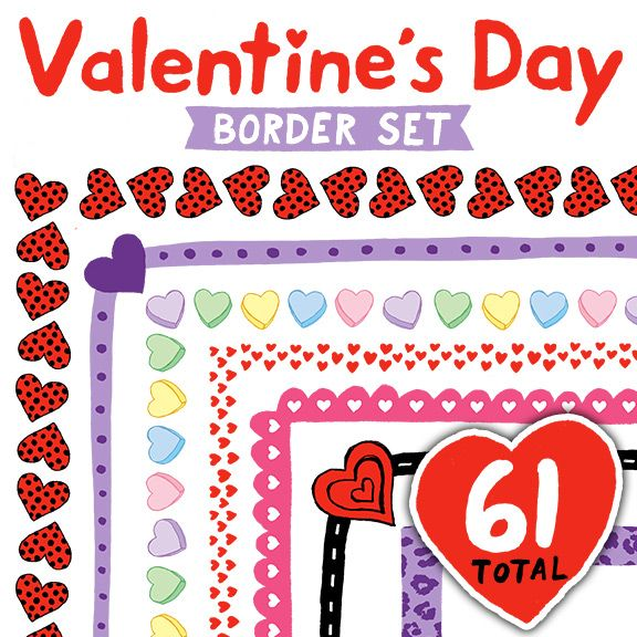 Valentine\u0027s Day Border Set - Borders for Personal and Commercial Use - 's day borders