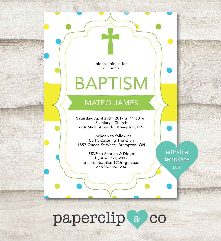Boy baptism invitation polka dot baptism boy invitation