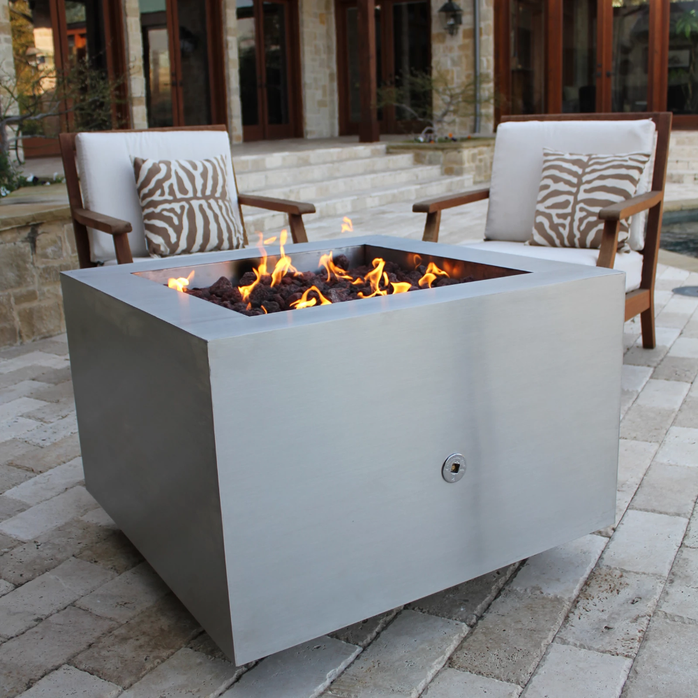 35 Square Stainless Steel Fire Pit Stainless Steel Fire Pit Wood Burning Fire Pit Fire Pit Patio
