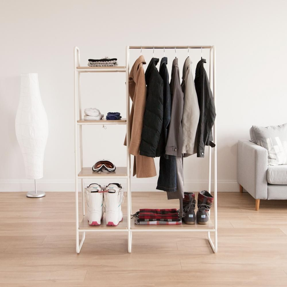 Iris White And Light Brown Metal Garment Rack With Wood Shelves