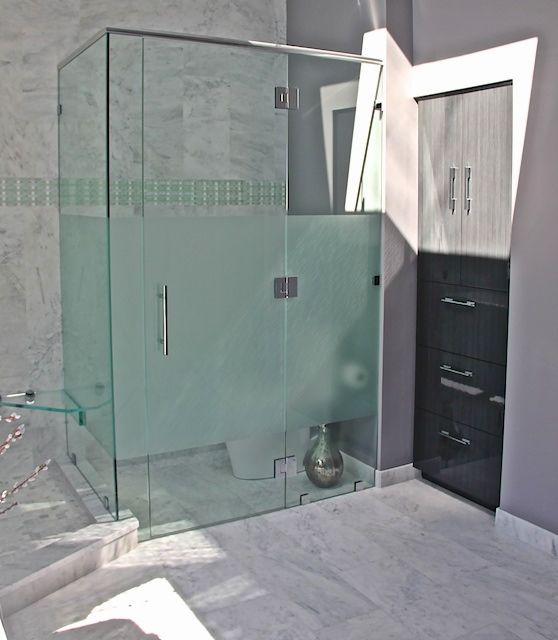 Atypical Glass Walled Water Closet With Toto Toilet. Frosted Glass For  Privacy. Custom