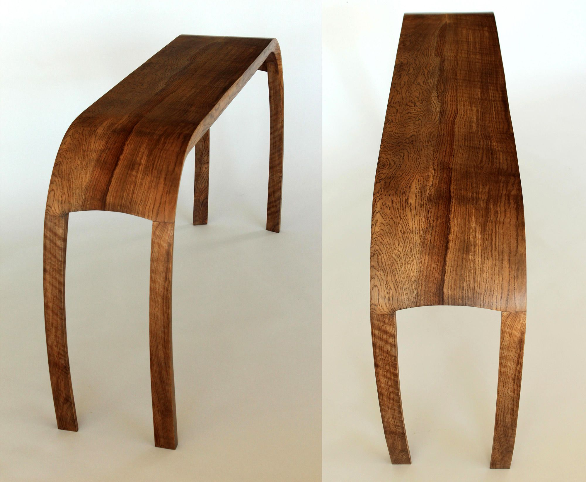 Console Table In Solid Steam Bent Ripple Oak