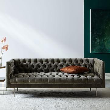 Modern Chesterfield 3 Seater Sofa, Velvet, Cement Metal ...