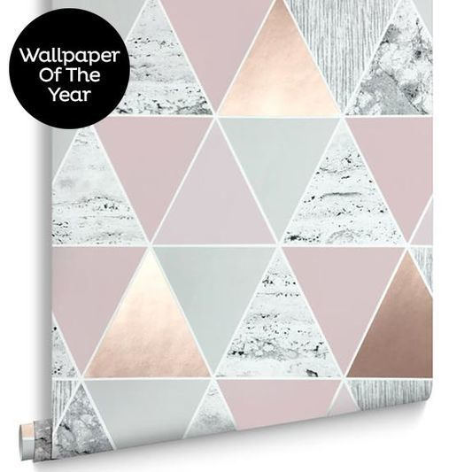 Rose gold reflections wallpaper large home addition for Pink and grey bedroom wallpaper