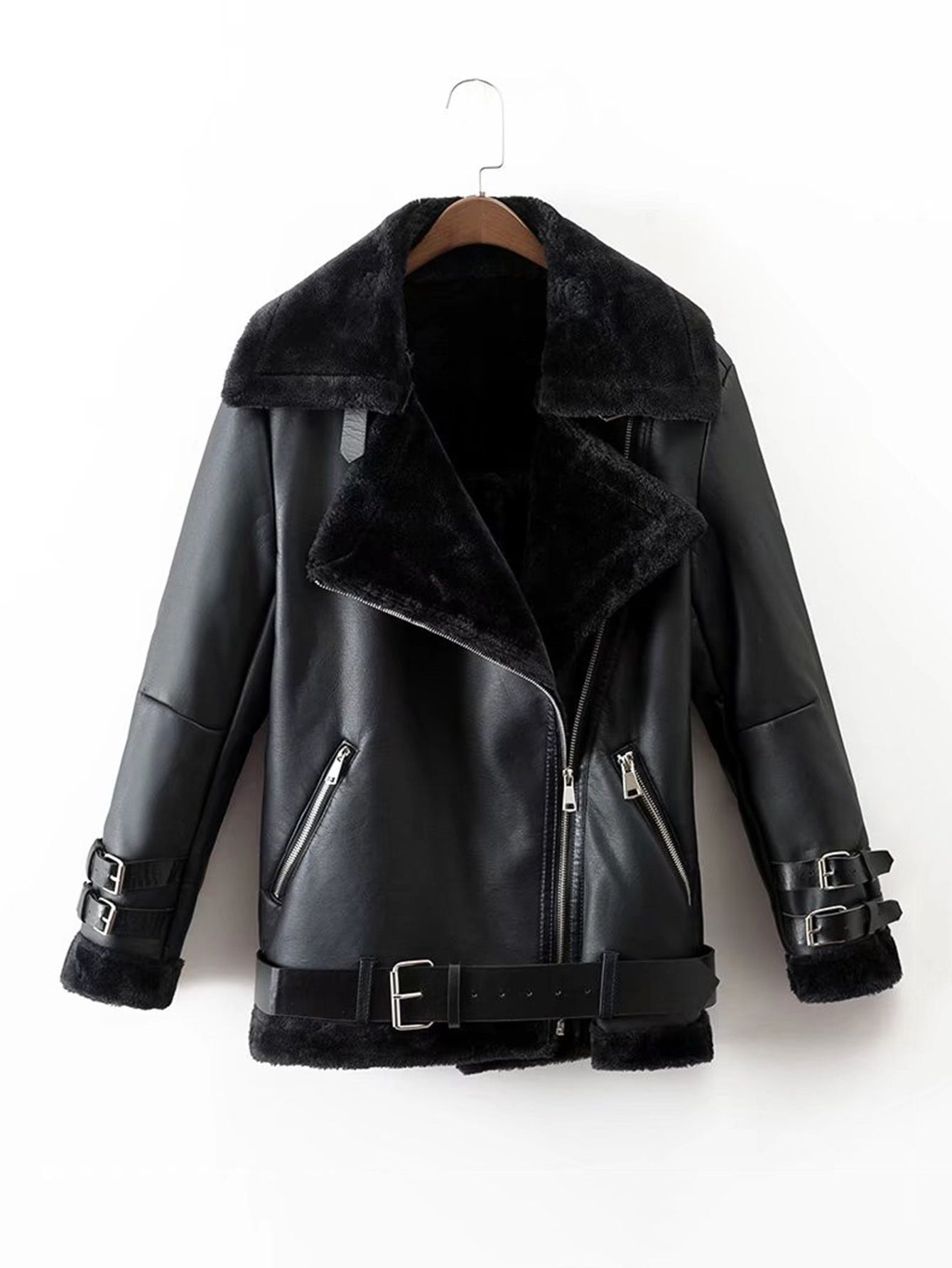 Faux Leather Faux Fur Lined Belted Jacket (With images