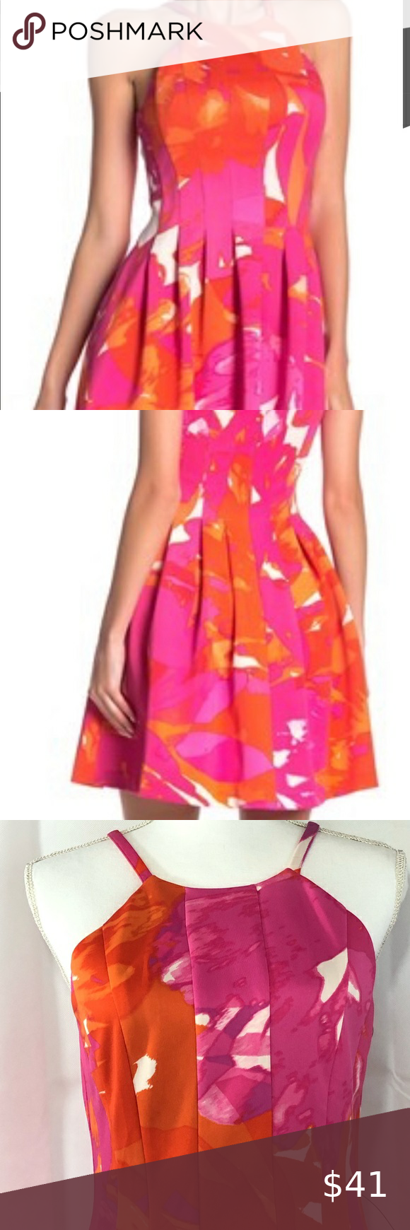 Vince Camuto Sz 10 Pink Orange Fit Flare Dress Nwot A Vince Camuto Figure Flattering Fit And Flare Dress With A Bo Fit Flare Dress Flare Dress Fit Flare [ 1740 x 580 Pixel ]