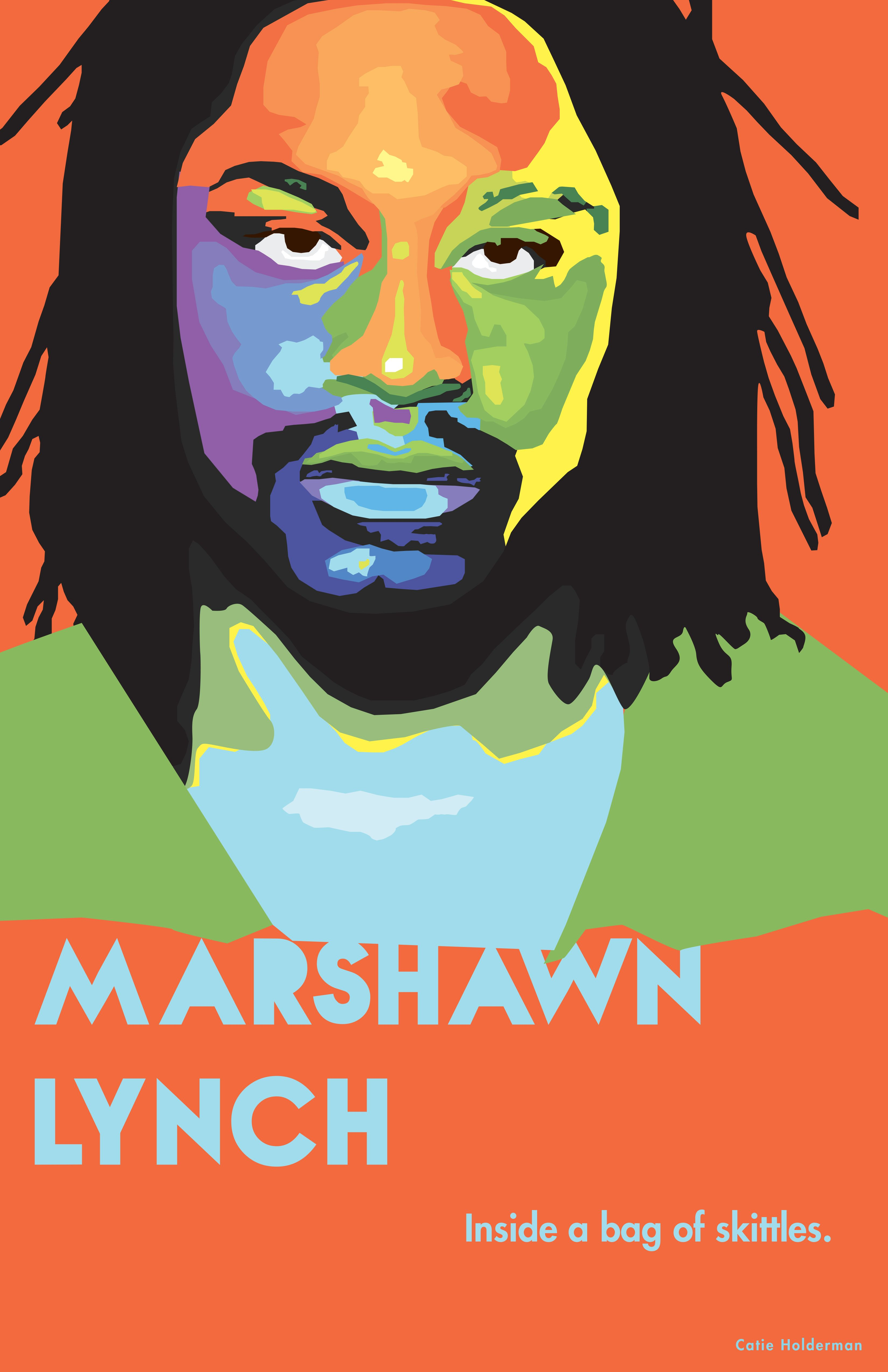 Marshawn Lynch\'s face is sectioned into different complementary ...
