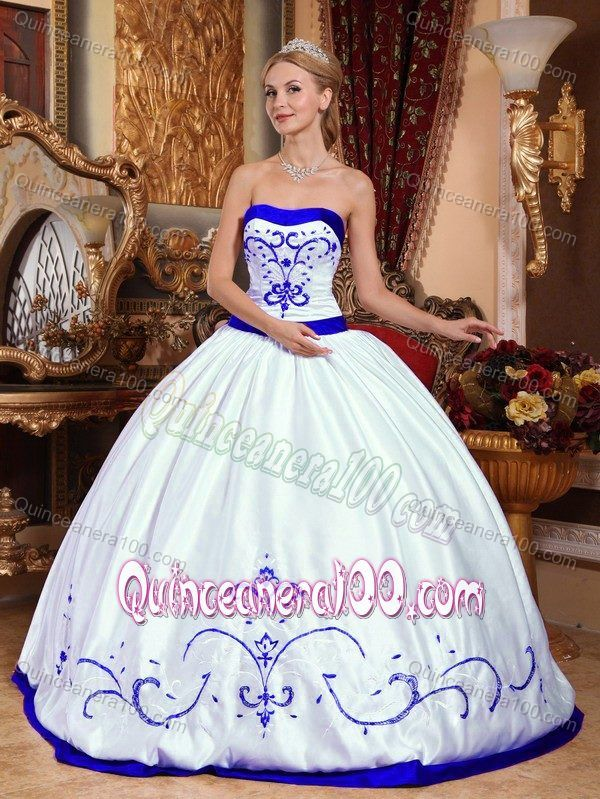 4dd6b2b2657 White and Royal Blue Quinceanera Dresses with Embroidery