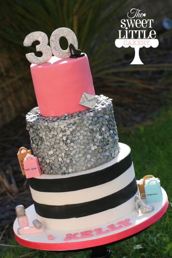 30th Sparkly Cake - Cake by thesweetlittlecakery