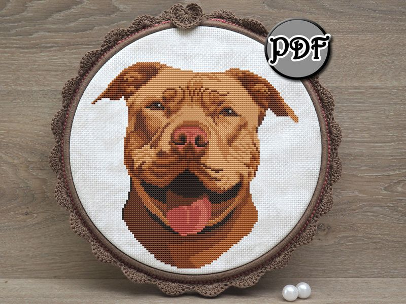 with instructions STAFFY Dog Hand Embroidery PDF Pattern Easy Beginner hoop embroidery pattern