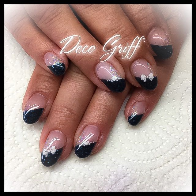 French paillettes ongles d co simple et classe gel nails - Deco ongle simple ...