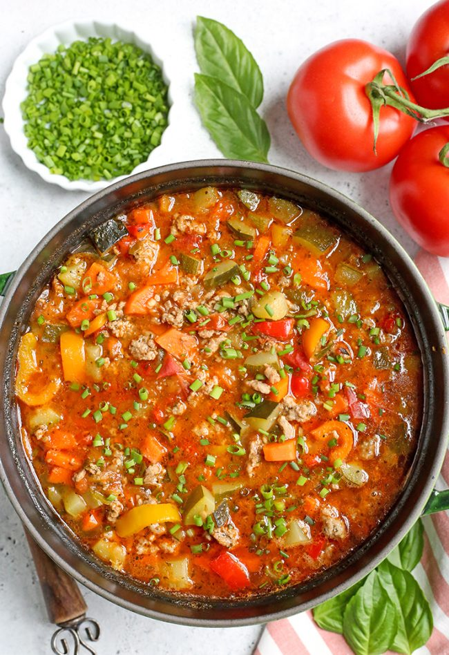 Paleo Whole30 Sausage Summer Vegetable Soup | Recipe in ...